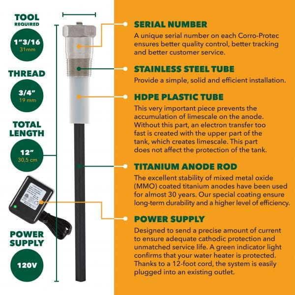 Corro-Protec RV 热水器阳极棒(用于郊区热水器)6